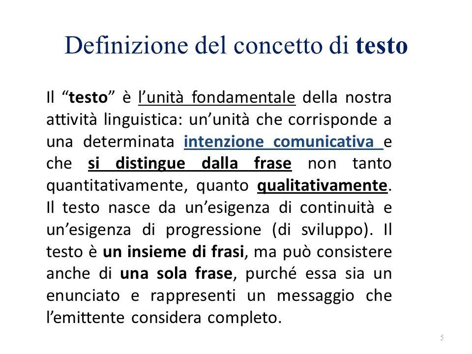 Definizione del concetto di testo