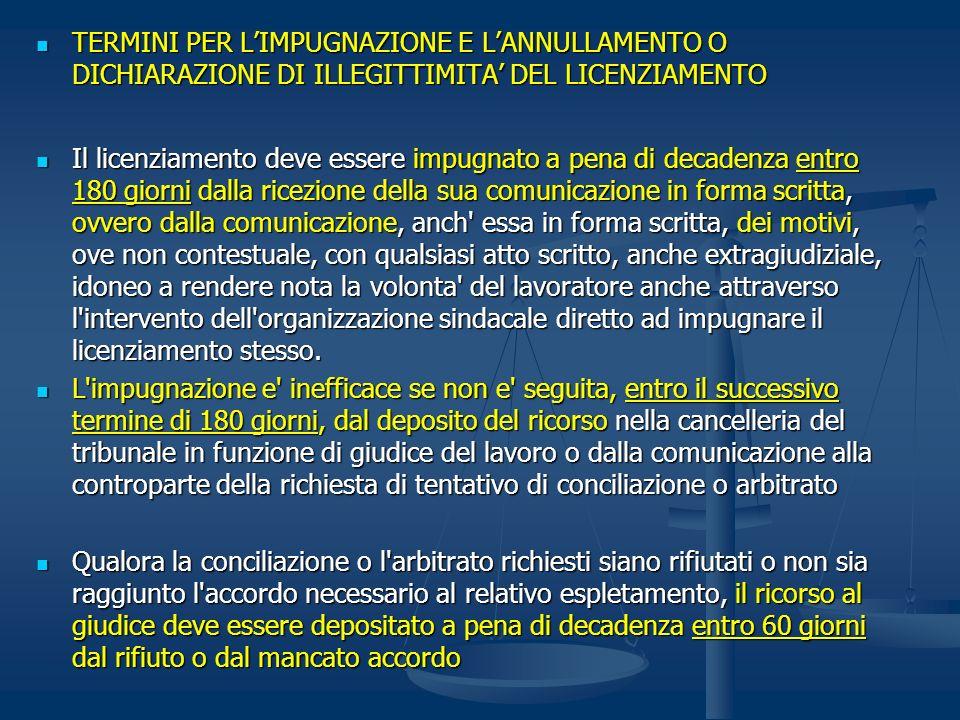 TERMINI PER L'IMPUGNAZIONE E L'ANNULLAMENTO O DICHIARAZIONE DI ILLEGITTIMITA' DEL LICENZIAMENTO