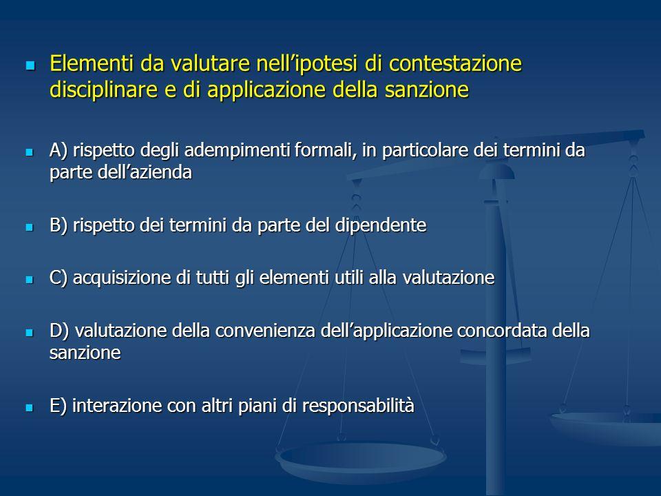 Elementi da valutare nell'ipotesi di contestazione disciplinare e di applicazione della sanzione