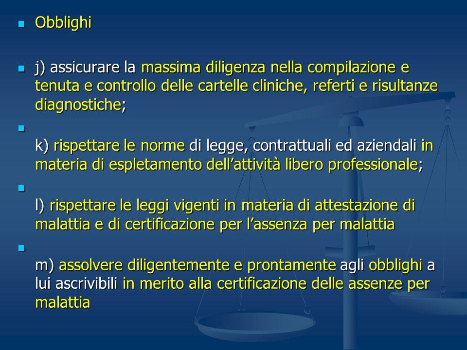 Obblighi j) assicurare la massima diligenza nella compilazione e tenuta e controllo delle cartelle cliniche, referti e risultanze diagnostiche;