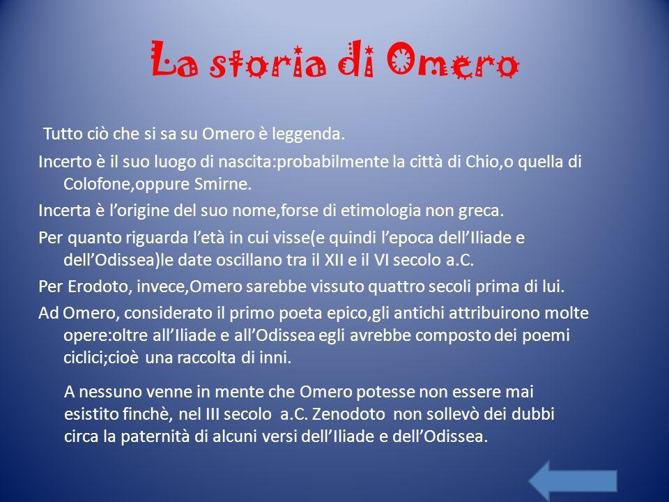 La storia di Omero Tutto ciò che si sa su Omero è leggenda.