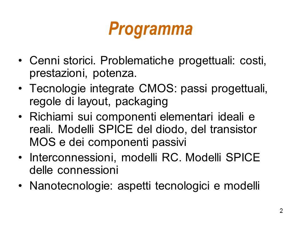 Programma Cenni storici. Problematiche progettuali: costi, prestazioni, potenza.