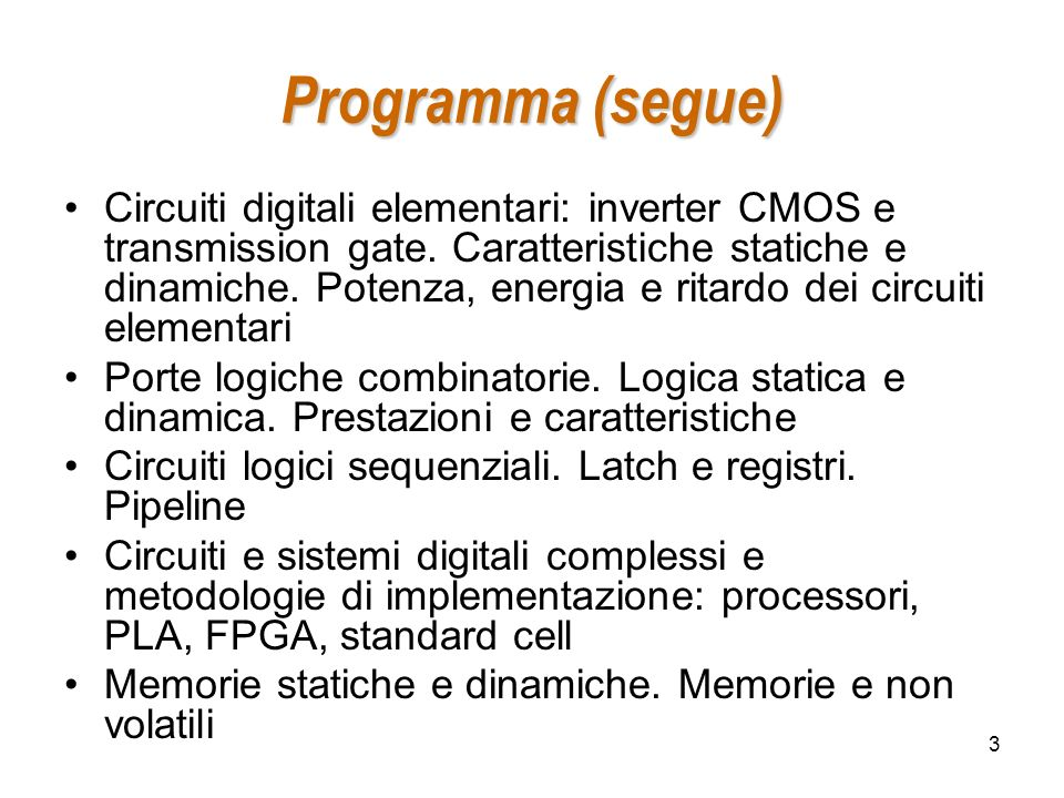Programma (segue)