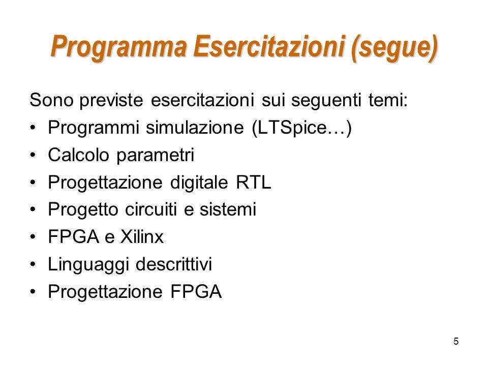 Programma Esercitazioni (segue)