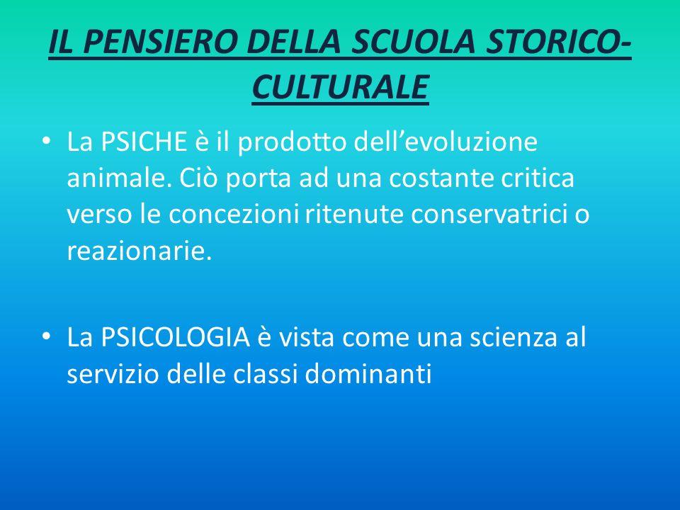 IL PENSIERO DELLA SCUOLA STORICO-CULTURALE