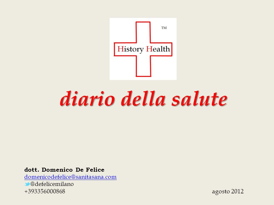 diario della salute dott. Domenico De Felice