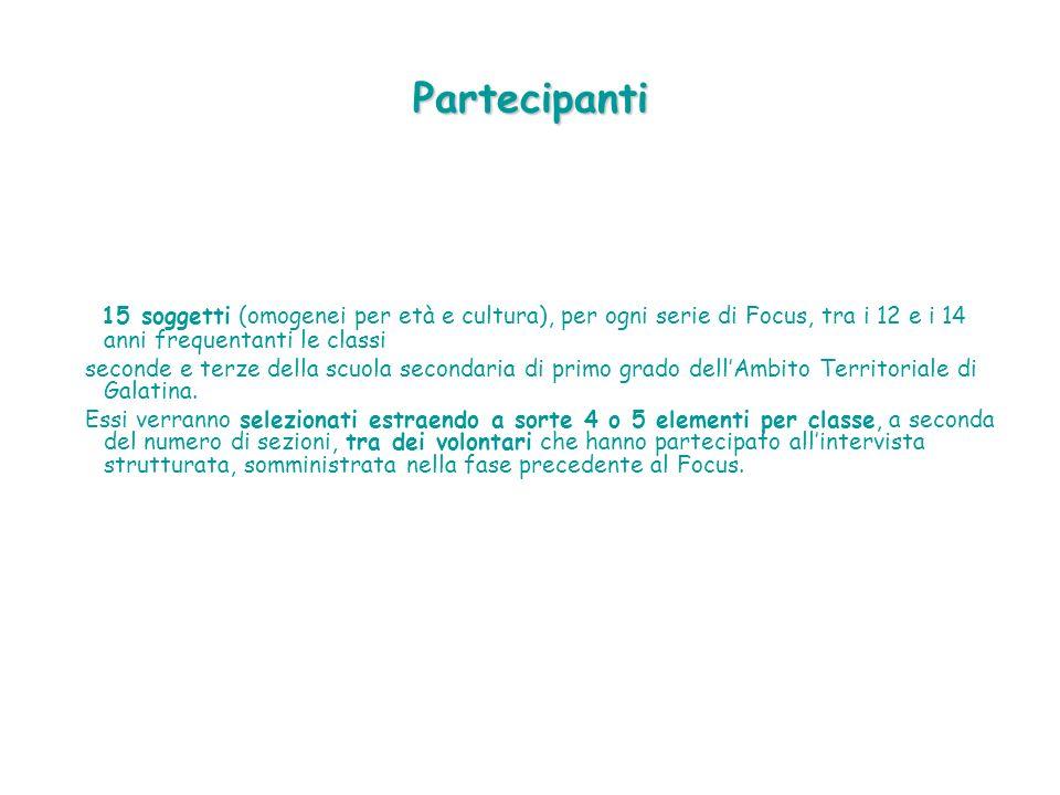 Partecipanti 15 soggetti (omogenei per età e cultura), per ogni serie di Focus, tra i 12 e i 14 anni frequentanti le classi.