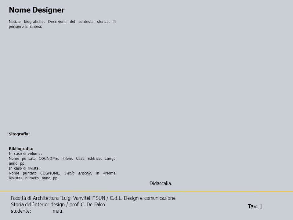 Nome Designer Tav. 1 Didascalia.