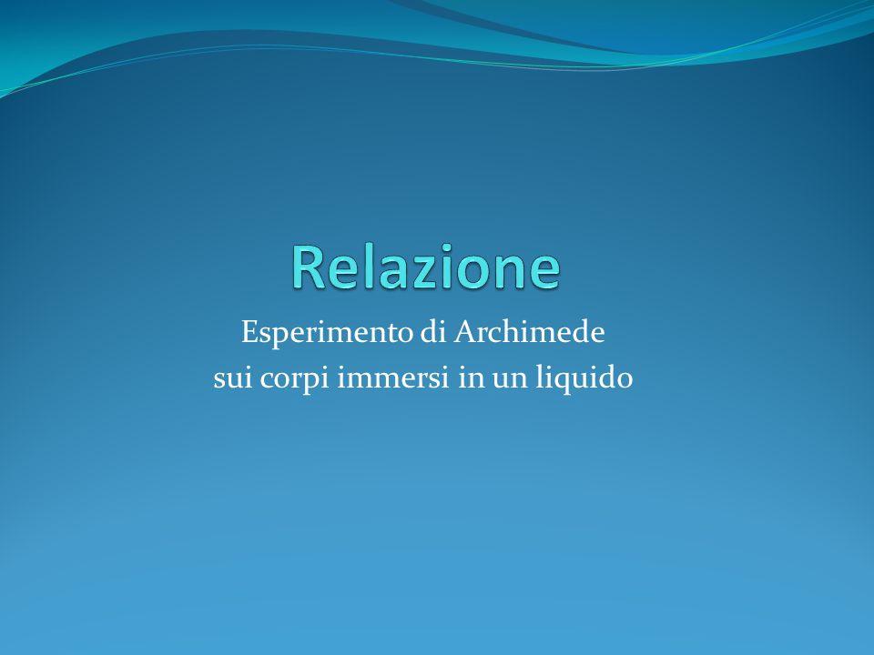 Esperimento di Archimede sui corpi immersi in un liquido