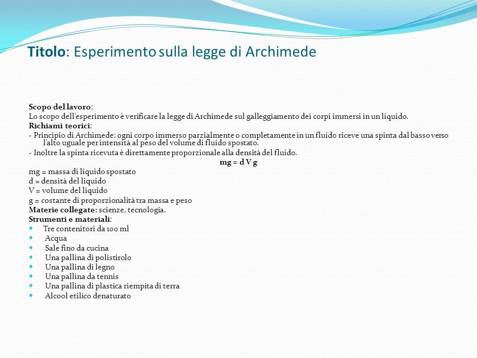 Titolo: Esperimento sulla legge di Archimede