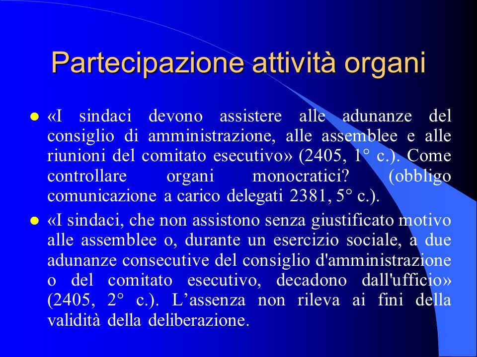 Partecipazione attività organi