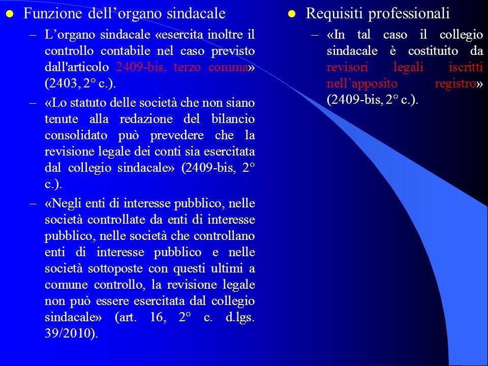 Funzione dell'organo sindacale Requisiti professionali