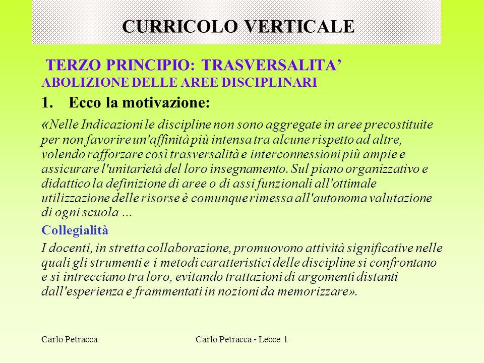 CURRICOLO VERTICALE TERZO PRINCIPIO: TRASVERSALITA'