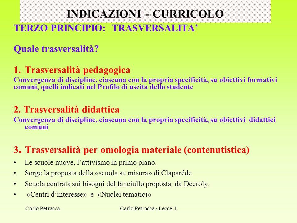 INDICAZIONI - CURRICOLO