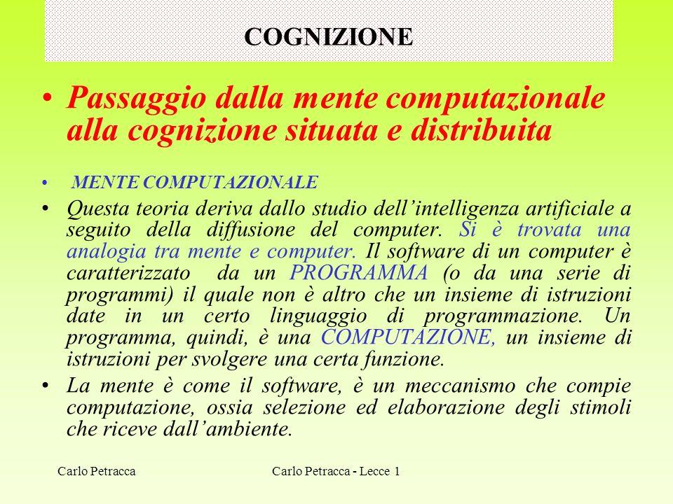 COGNIZIONE Passaggio dalla mente computazionale alla cognizione situata e distribuita. MENTE COMPUTAZIONALE.