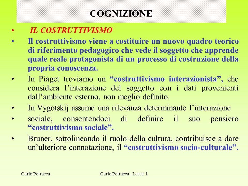 COGNIZIONE IL COSTRUTTIVISMO