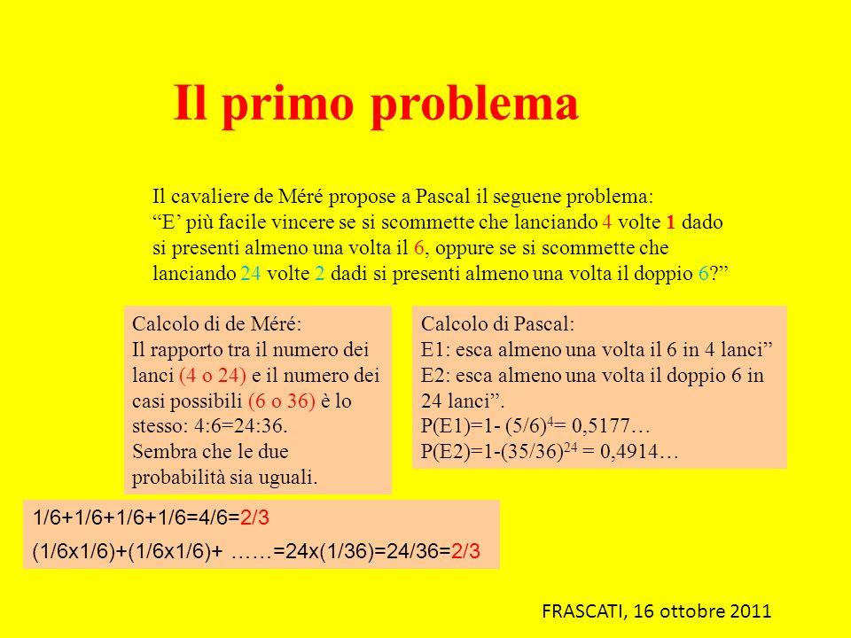 Il primo problema Il cavaliere de Méré propose a Pascal il seguene problema: