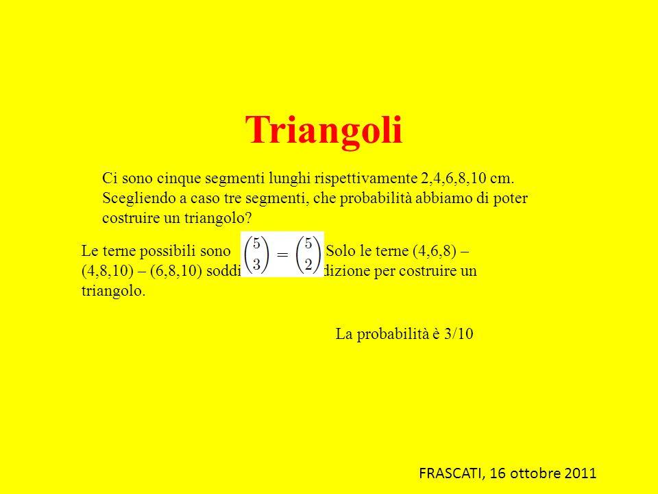 Triangoli Ci sono cinque segmenti lunghi rispettivamente 2,4,6,8,10 cm.