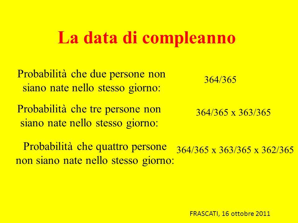 La data di compleanno Probabilità che due persone non siano nate nello stesso giorno: 364/365.