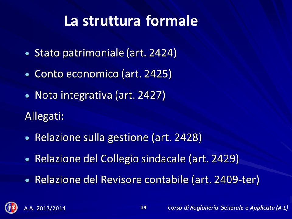 La struttura formale Stato patrimoniale (art. 2424)