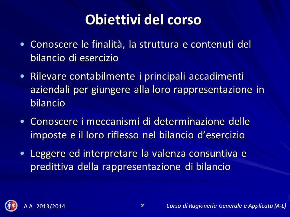 Obiettivi del corso Conoscere le finalità, la struttura e contenuti del bilancio di esercizio.
