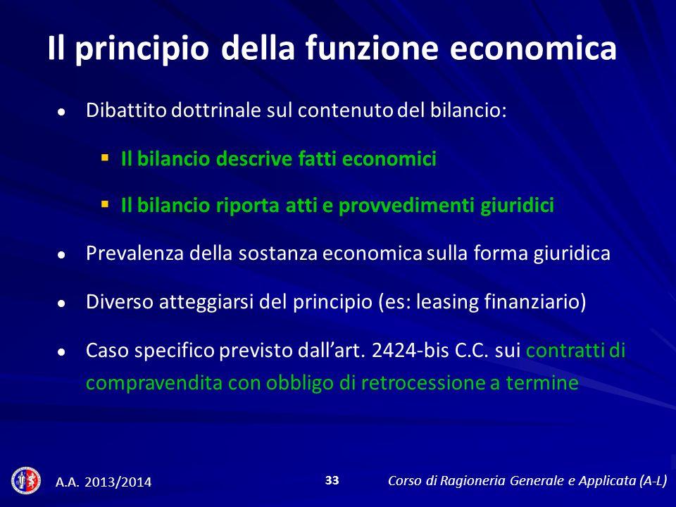 Il principio della funzione economica