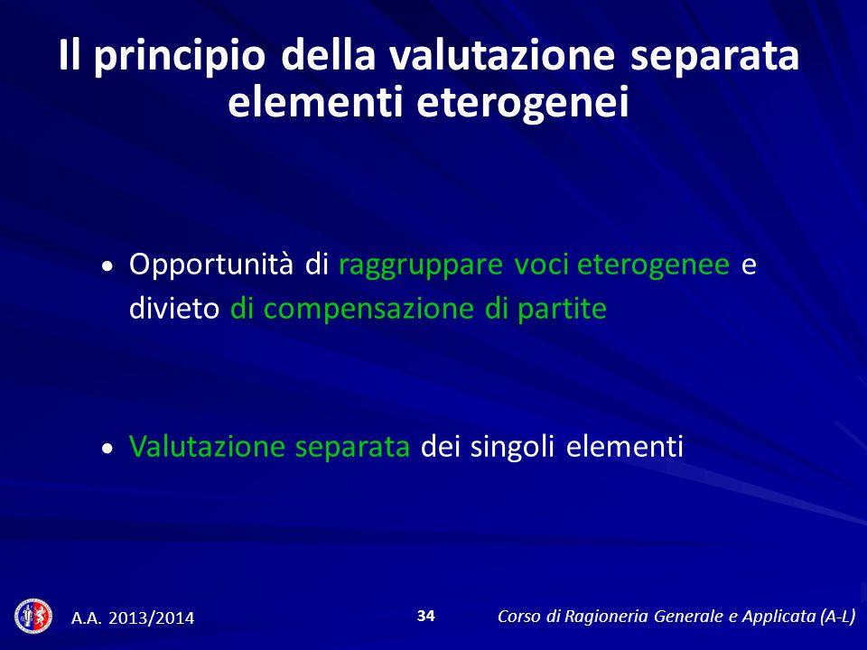 Il principio della valutazione separata elementi eterogenei
