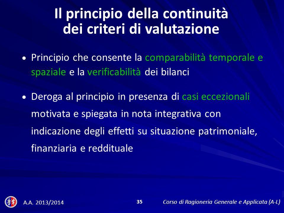 Il principio della continuità dei criteri di valutazione