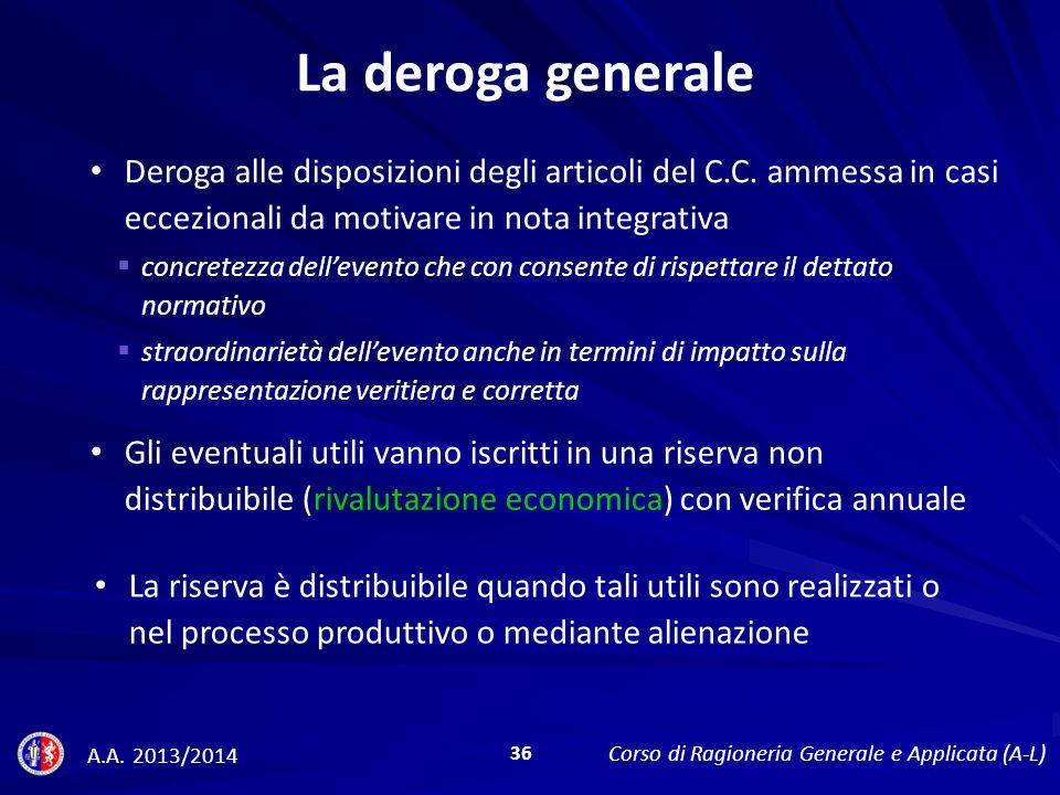 La deroga generale Deroga alle disposizioni degli articoli del C.C. ammessa in casi eccezionali da motivare in nota integrativa.