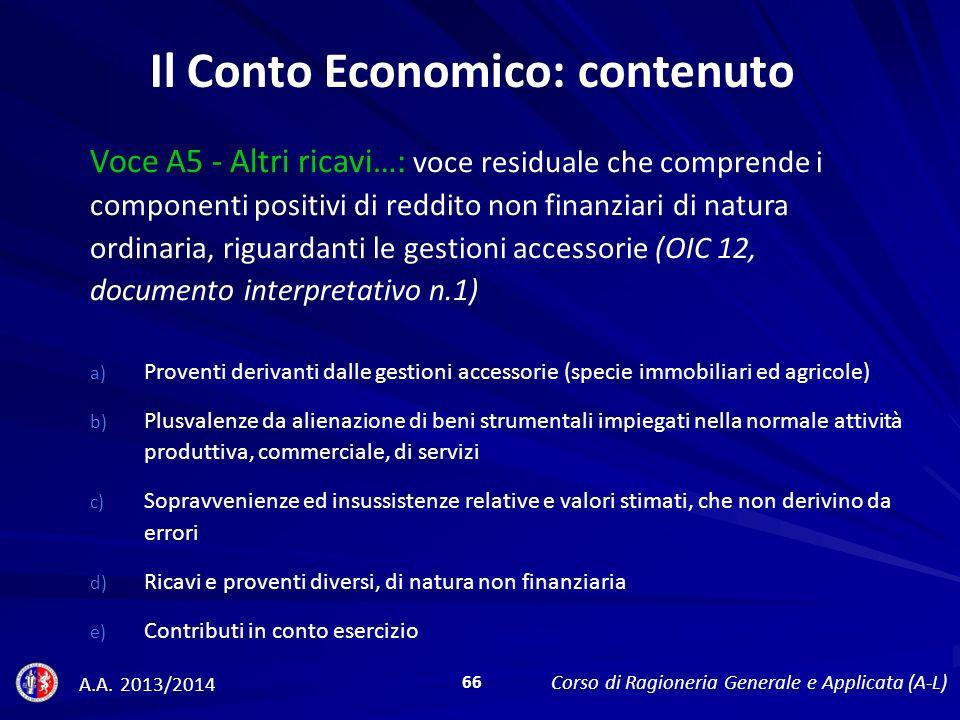 Il Conto Economico: contenuto