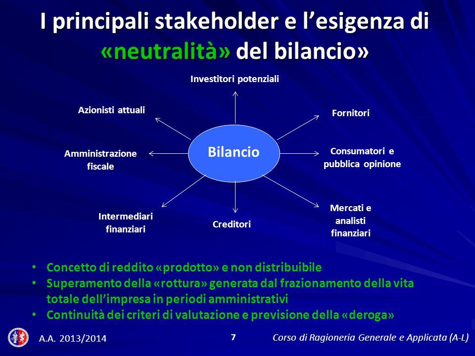 I principali stakeholder e l'esigenza di «neutralità» del bilancio»