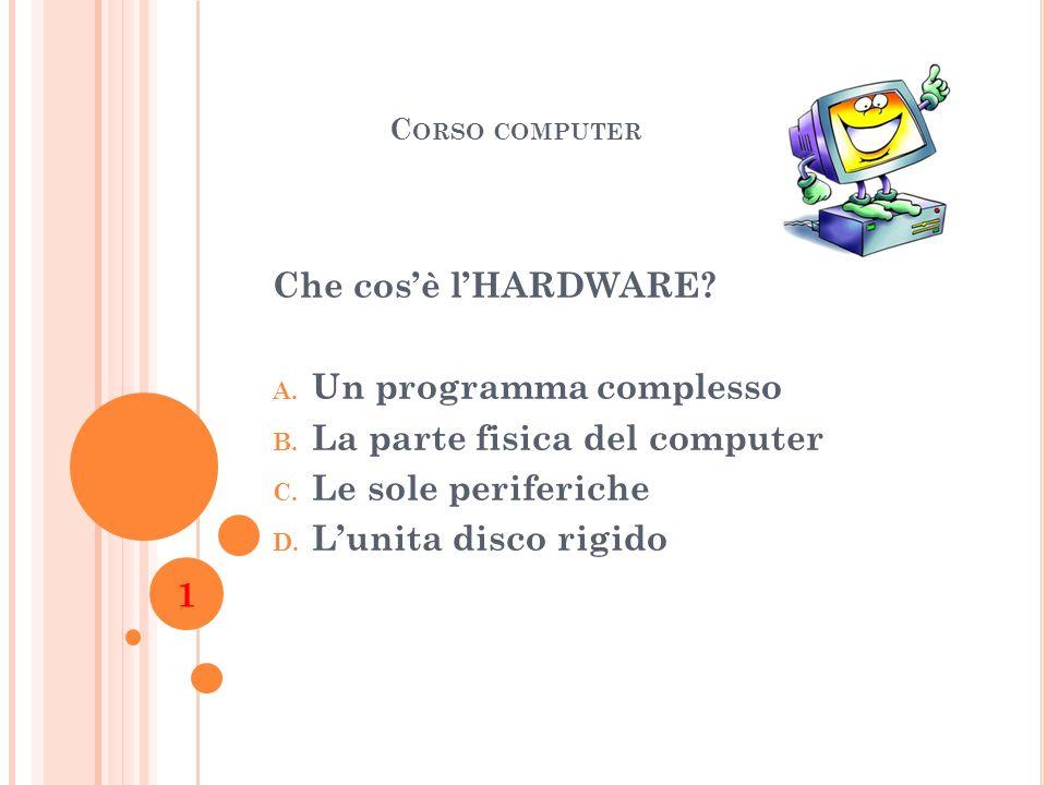 Un programma complesso La parte fisica del computer
