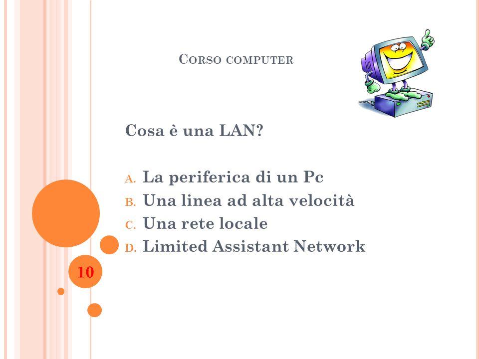 Una linea ad alta velocità Una rete locale Limited Assistant Network