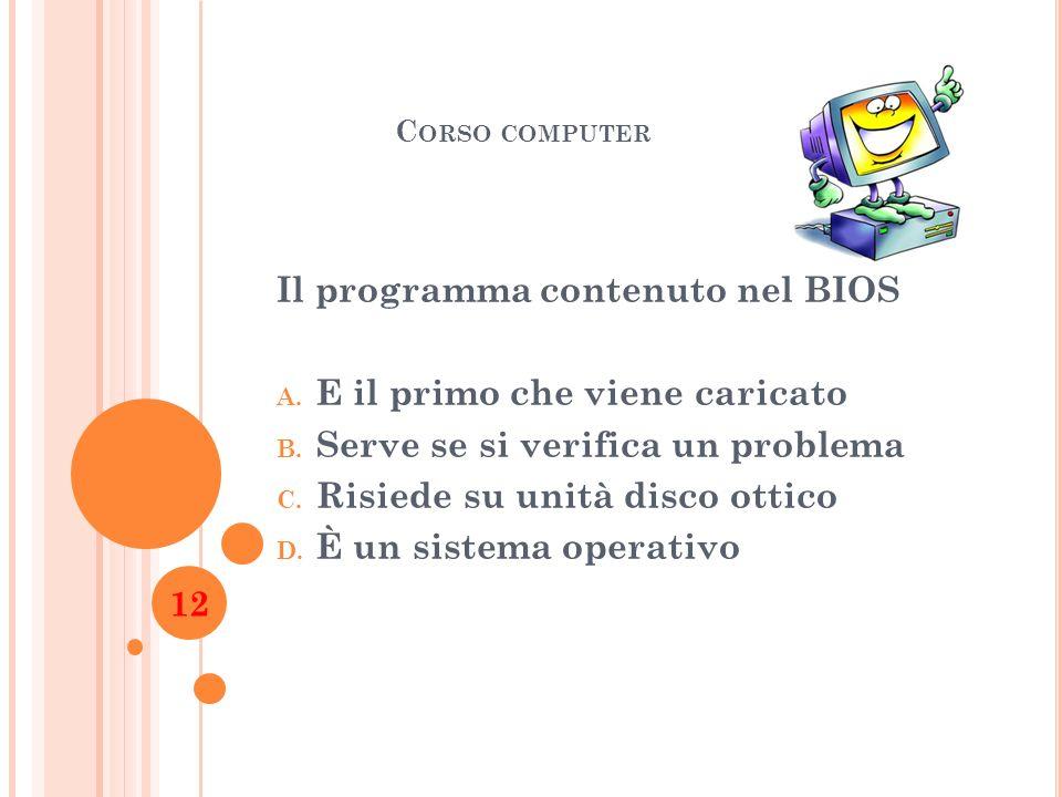 Il programma contenuto nel BIOS E il primo che viene caricato