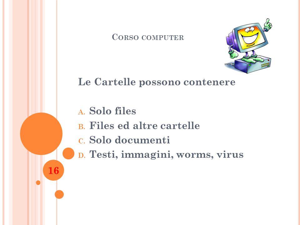 Le Cartelle possono contenere Solo files Files ed altre cartelle