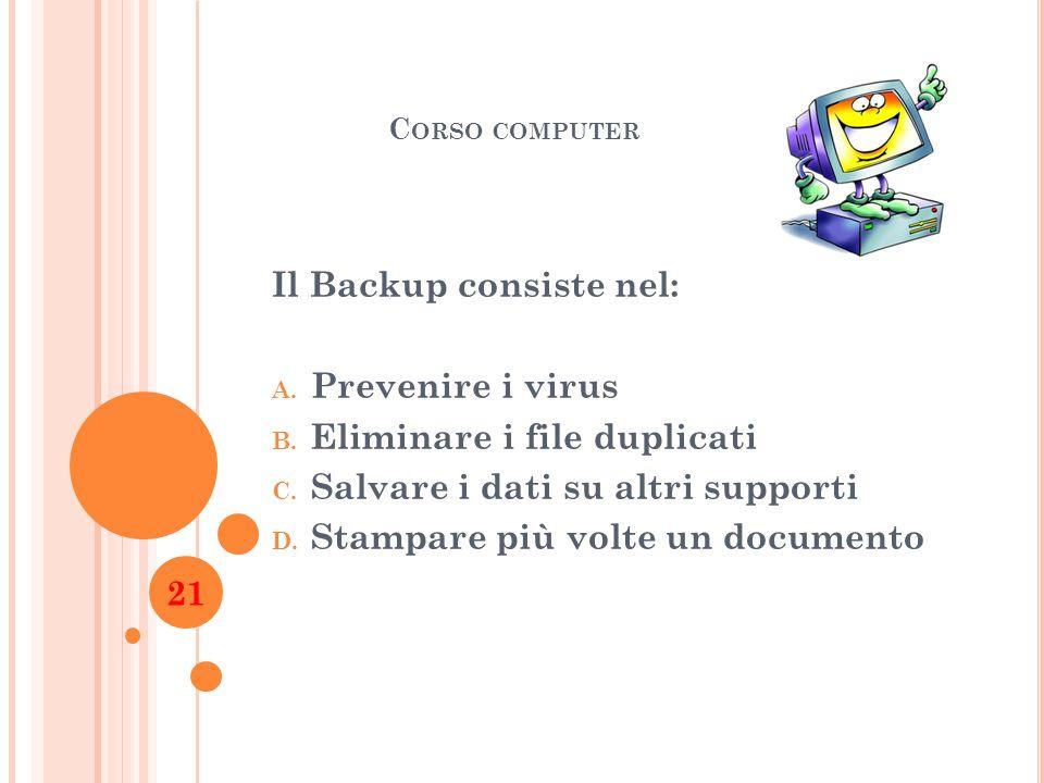 Il Backup consiste nel: Prevenire i virus Eliminare i file duplicati