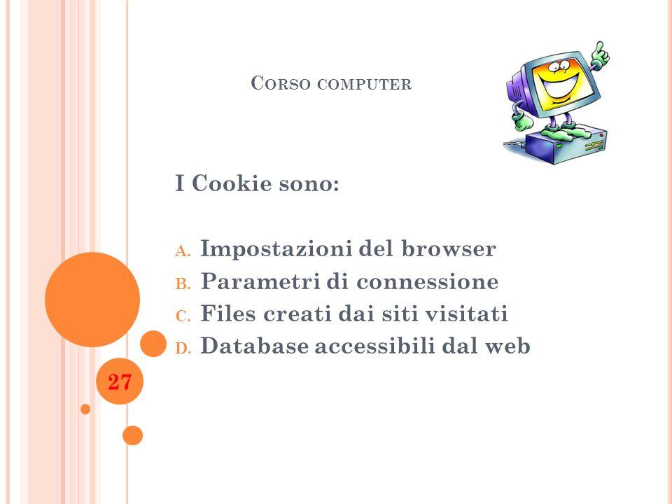Impostazioni del browser Parametri di connessione