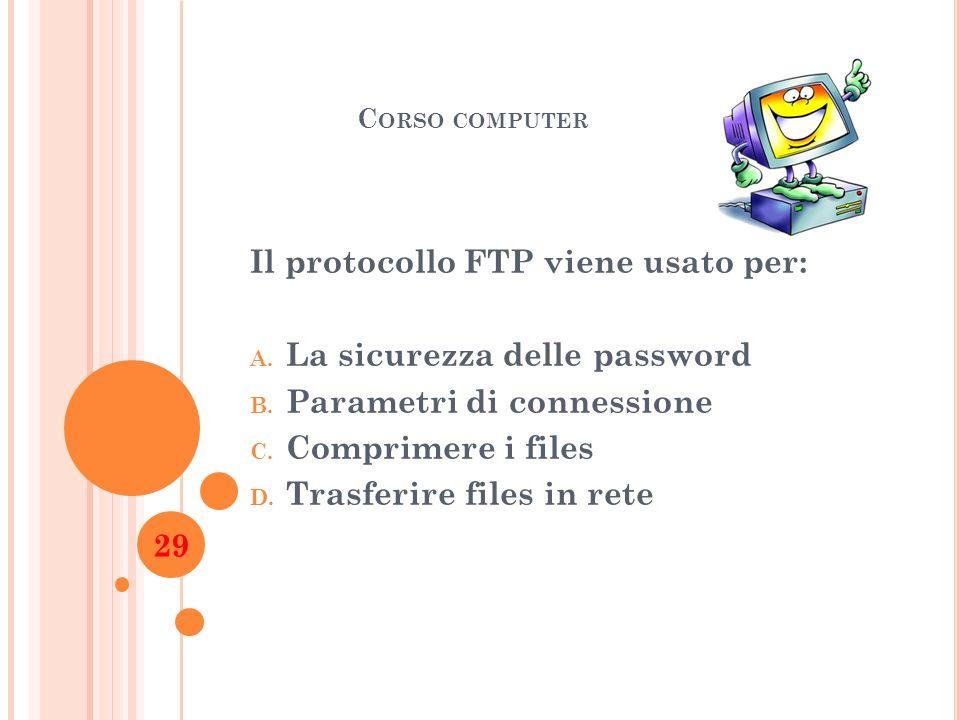 Il protocollo FTP viene usato per: La sicurezza delle password