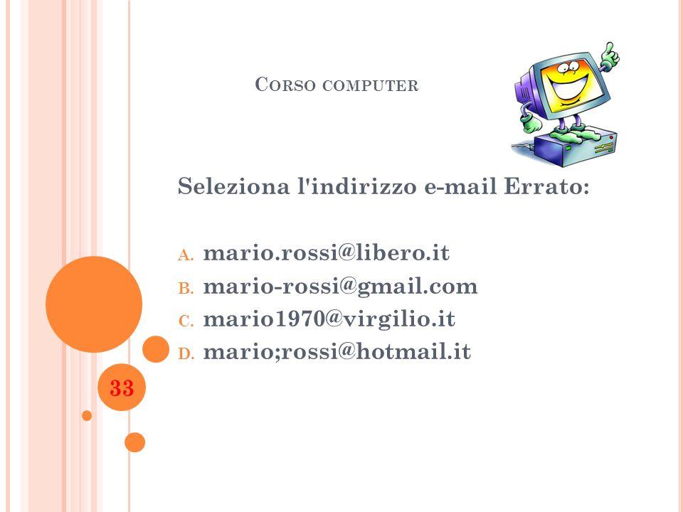 Seleziona l indirizzo e-mail Errato: mario.rossi@libero.it