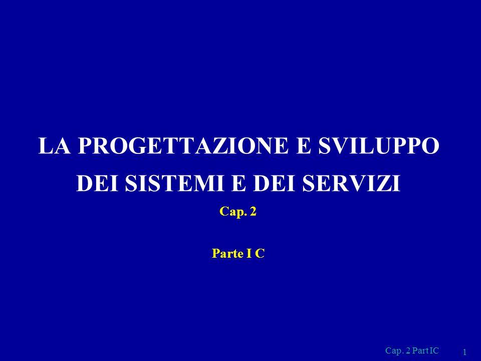 LA PROGETTAZIONE E SVILUPPO DEI SISTEMI E DEI SERVIZI Cap. 2 Parte I C