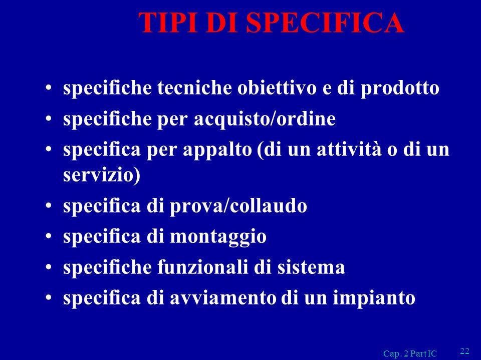 TIPI DI SPECIFICA specifiche tecniche obiettivo e di prodotto