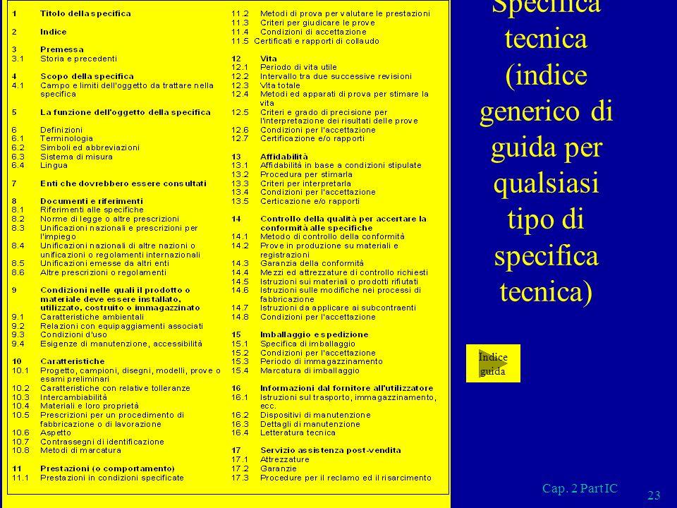 Specifica tecnica (indice generico di guida per qualsiasi tipo di specifica tecnica)