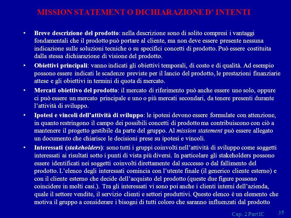 MISSION STATEMENT O DICHIARAZIONE D' INTENTI