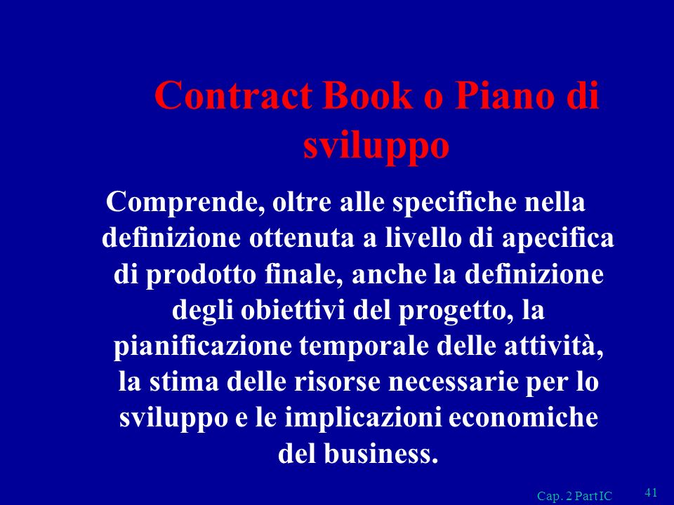 Contract Book o Piano di sviluppo