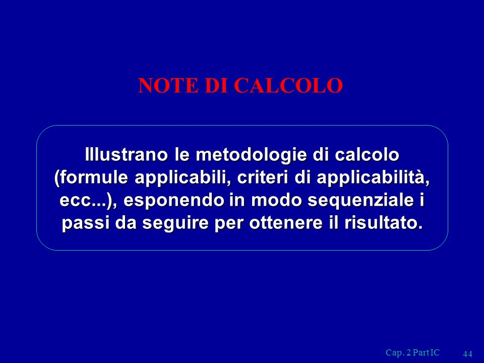 NOTE DI CALCOLO
