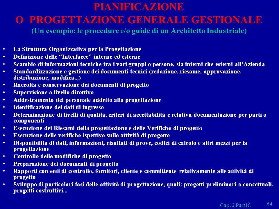 PIANIFICAZIONE O PROGETTAZIONE GENERALE GESTIONALE (Un esempio: le procedure e/o guide di un Architetto Industriale)