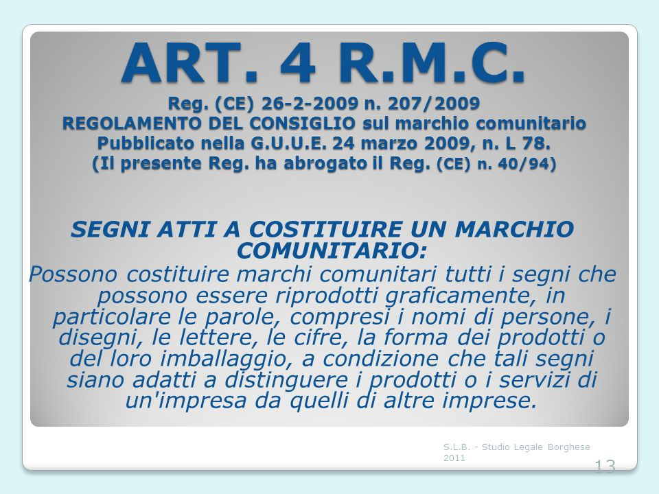 ART. 4 R.M.C. Reg. (CE) 26-2-2009 n. 207/2009 REGOLAMENTO DEL CONSIGLIO sul marchio comunitario Pubblicato nella G.U.U.E. 24 marzo 2009, n. L 78. (Il presente Reg. ha abrogato il Reg. (CE) n. 40/94)