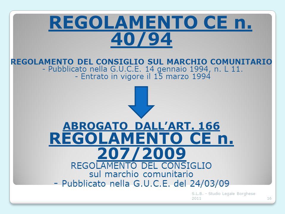 REGOLAMENTO CE n. 40/94 REGOLAMENTO DEL CONSIGLIO SUL MARCHIO COMUNITARIO - Pubblicato nella G.U.C.E. 14 gennaio 1994, n. L 11.