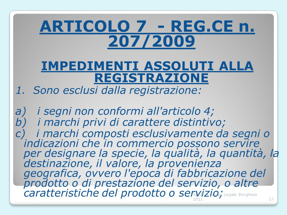IMPEDIMENTI ASSOLUTI ALLA REGISTRAZIONE