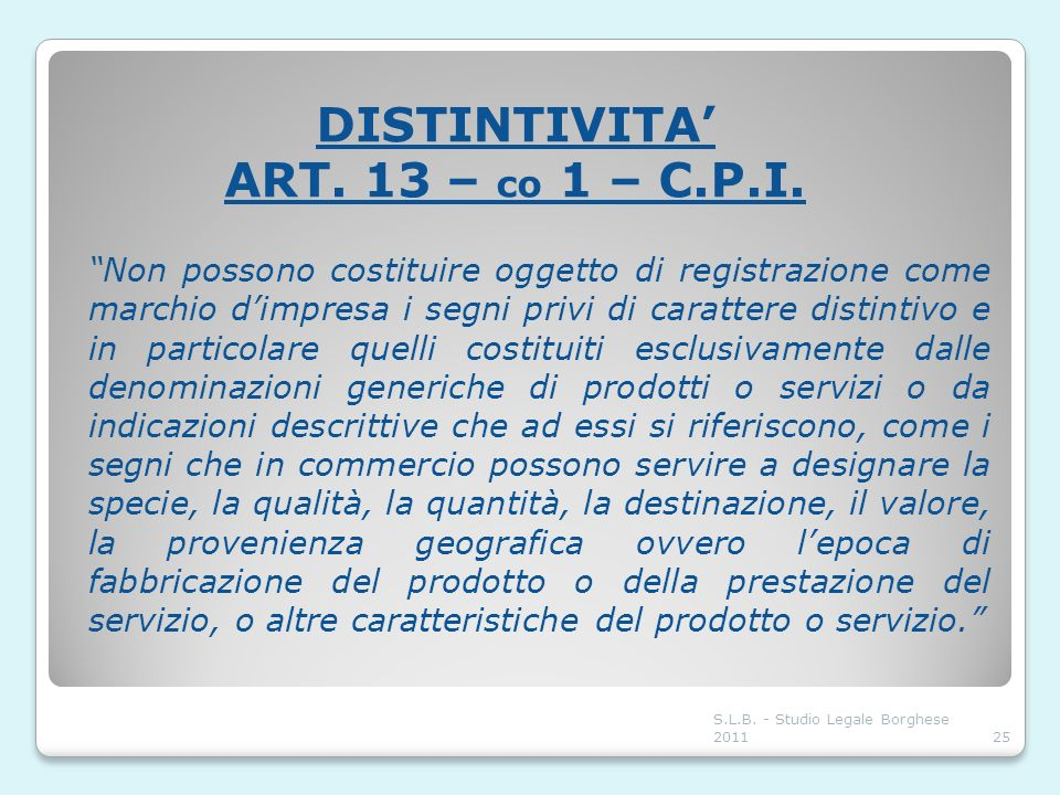 DISTINTIVITA' ART. 13 – co 1 – C.P.I.